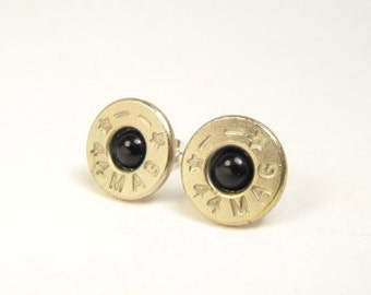 Bullet earrings onyx and nickel plated brass 44 Mag post earrings