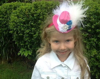 Mini Cowboy hat with feathers and veil