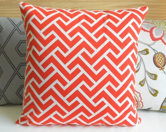 CLEARANCESALE Both sides, Coral geometric zig zag decorative pillow cover