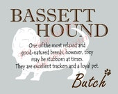 Bassett Hound Print Dog Choose Breed Personalize Silhouette 8 x 10 Print Wall Art customize pet FREE SHIPPING