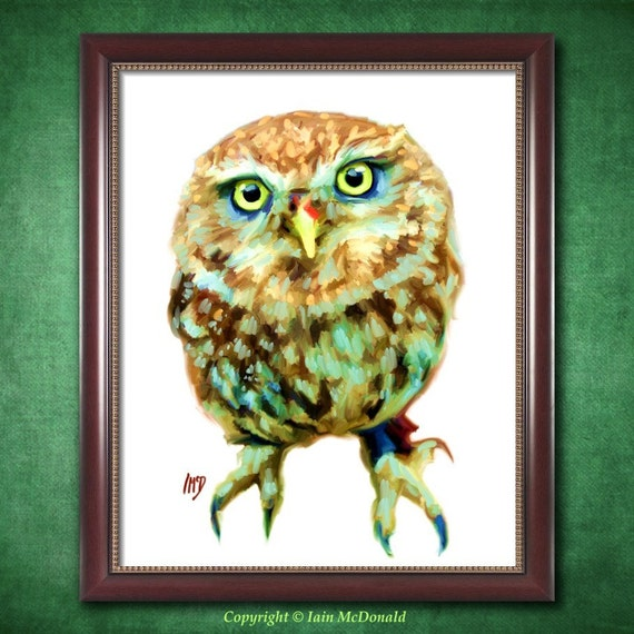 Owl Art Print 8x10 - Owl Print - Owl Illustration - Owl Painting