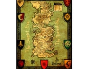 WESTEROS 1M- Handmade Leather Wall Hanging - 24x18 Travel Art