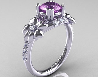 Nature Inspired 14K White Gold 1.0 Ct Lilac Amethyst Diamond Leaf and Vine Engagement Ring R245-14KWGDLAM