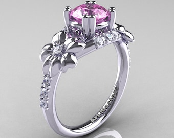 Nature Inspired 14K White Gold 1.0 Ct Light Pink Sapphire Diamond Leaf and Vine Engagement Ring R245-14KWGDLPS