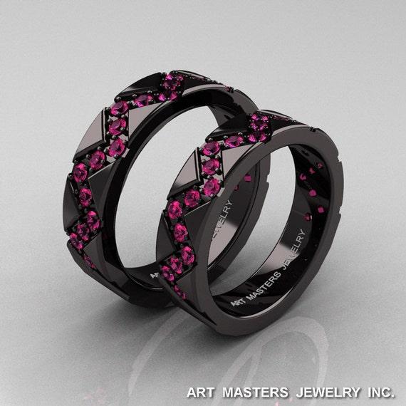 Classic Armenian 14K Black Gold Pink Sapphire Wedding Band Set