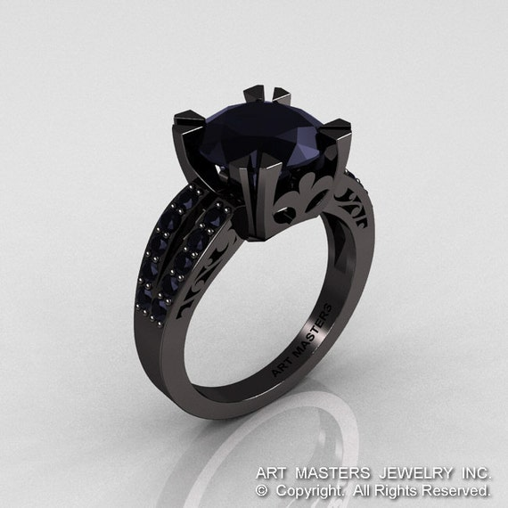 Modern Vintage 14K Black Gold 3 0 Black yx Black Diamond