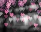 black white photography bokeh 8x10 8x12 abstract photography hearts fine art photography romantic fairy light art print pink pastel gray