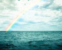 ocean photography nautical decor rainbow over ocean coastal print 8x10 8x12 fine art photography teal art print aqua blue clouds summer sky