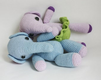 2 Amigurumi Elephant Patterns - Mio and Mia - Crochet PDF Tutorial - In English