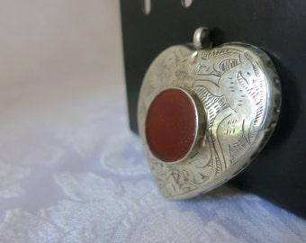 SALE....Pendant  Silver Carnelian Tibetan Two Inches Long