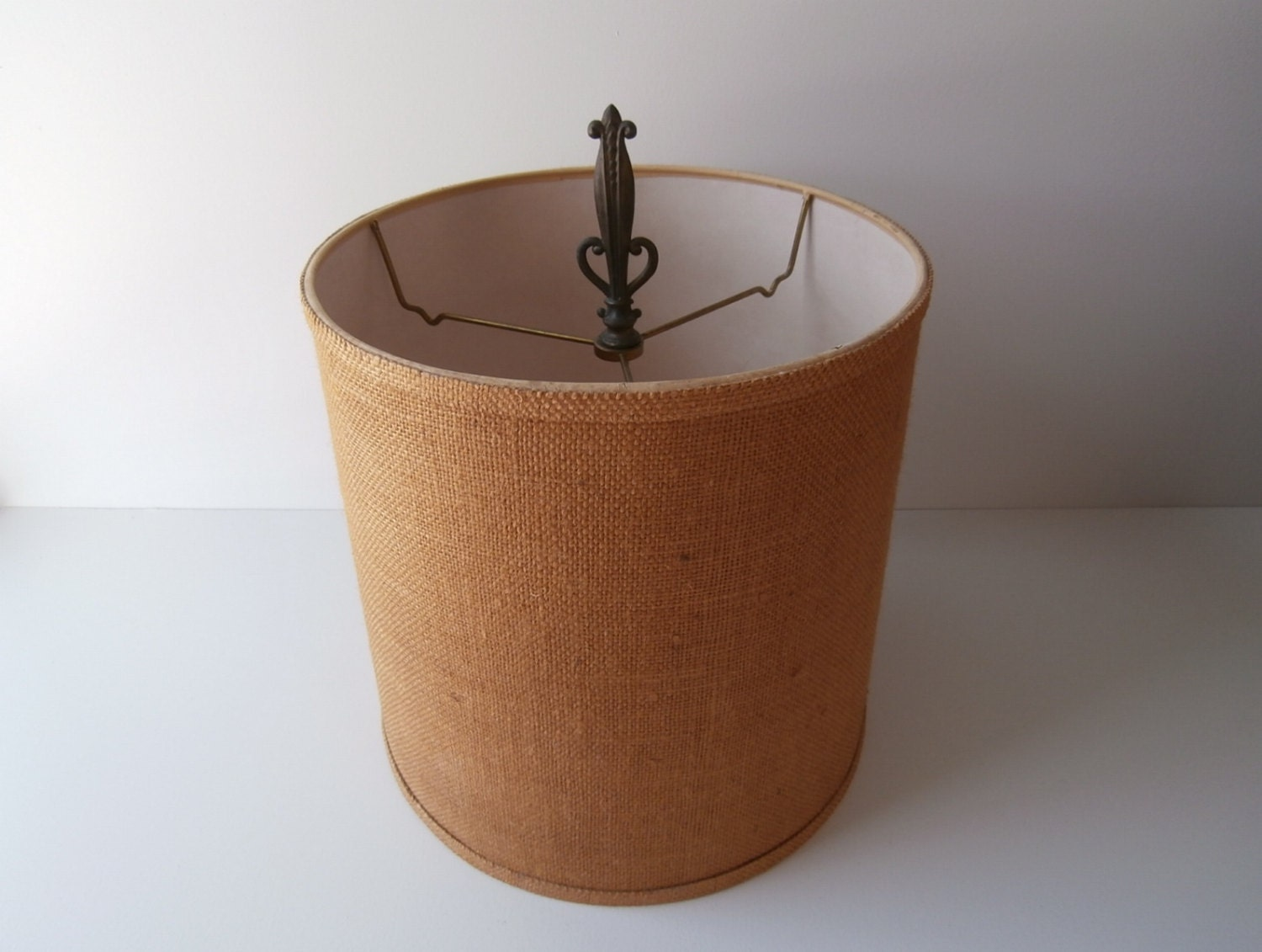Burlap lamp shade large drum shade 1970s lamp shade brown for Wide drum lamp shade