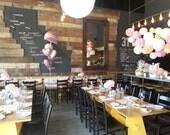 7 Pom Poms - Peachy Pink Tissue Paper Pom Poms - Wedding Decor, Weddings, Shower Decor