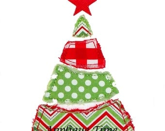 Instant Download Divided Christmas Tree Machine Embroidery Applique Design Satin and Raggy Finish 4x4, 5x7 and 6x10