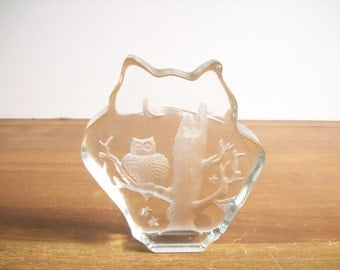 Solid Glass Owl Paperweight, Etched Design, Abstract Form, Vintage
