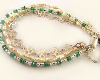 Genuine Emerald and FW Pearl Sterling Silver Bracelet, June and May birthstone