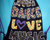 Black T Shirt Drawstring Bag with Purple Straps / Dance, Love, Music / Hip Backpack / Gym Tote Bag / Upcycled / Girl Drawstring Backpack