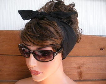 Women Headband Dolly Bow Retro Headband Fashion Accessories Women Tie Up Head Scarf in Black by creationsbyellyn