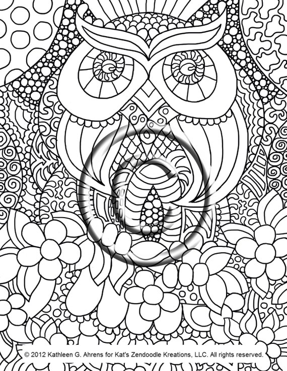 Instant Pdf Download Coloring Page Hand Drawn By Abstract Owl Coloring Pages