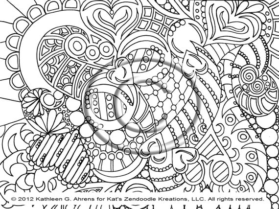 instant pdf digital download coloring page hand drawn zentangle inspired psychedelic sunrise abstract zendoodle