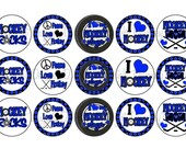 I Love HOCKEY Blue & Black Sports Team School Spirit Bottle Cap Images 4x6 Printable Bottlecap Collage INSTANT DOWNLOAD