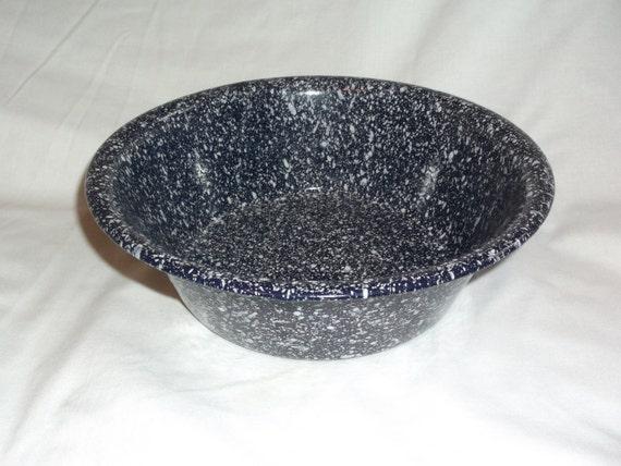 Vintage Enamelware Blue Speckled Large Bowl 9 1 2 X By
