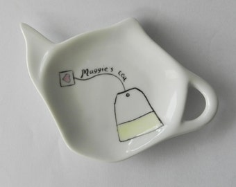 Personalized White Porcelain Tea Bag Holder -& Spoon Rest with name or message gift for her for him for the tea lover