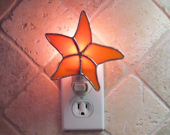 Stained Glass Starfish Night Light in Orange Swirled Opalescent Glass - Handcrafted Authentic Stained Glass