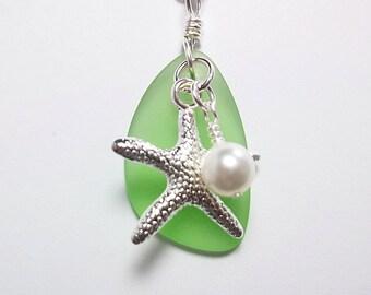 Green Sea Glass Necklace Stocking Stuffer Christmas Gifts Bridesmaid Wedding Jewelry Starfish Necklace Peridot