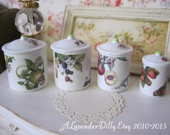 Fruits of the Forest Dollhouse Canisters 1/12 scale