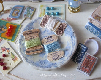 Vintage Thread Cards for Dollhouse Miniature Sewing