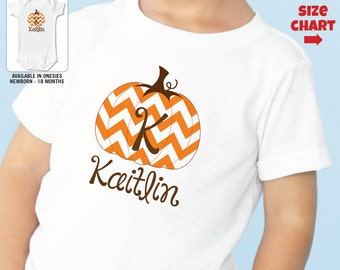 Personalized Chevron Pumpkin Shirt or Bodysuit - Pumpkin Patch Shirt
