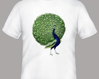 Bright Vintage Peacock Illustration Adult Tshirt
