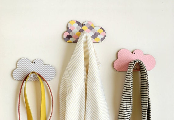 Set of three cloud wall hooks nursery wall decorative - Kids decorative wall hooks ...
