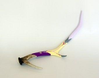 VIOLET, LAVENDER & YELLOW purple antler geometric contemporary modern chevron arrow painted decorative stripe bone taxidermy decor art piece