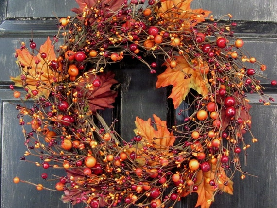 Fall Wreath Maple Leaf Amp Pip Berry Wreath Primitive