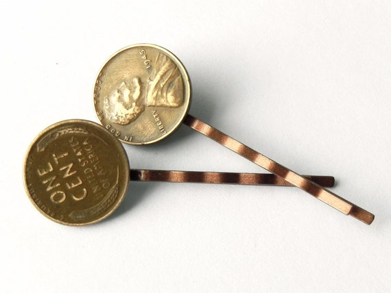 Vintage coin hair pins decorative copper by mistymountainforge for Unique decorative accessories