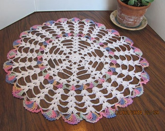 """Crochet Doily-Vintage Lacy White with Multi Colored Trim 16 1/2"""""""