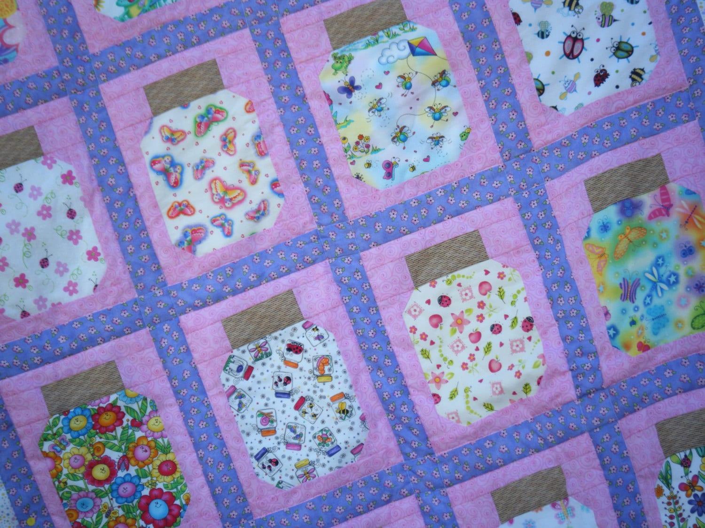 Cute Bug Jar Quilt Block Pdf Pattern Children Baby Instant
