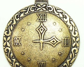Pocket Watch Style Clock Pendant Stamping, Brass Ox, Dark Brass, Item08017