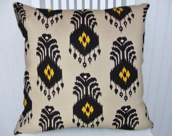 Yellow Decorative Pillow Cover-- IKAT NEW  18x18 or 20x20 or 22x22-- Decorative Accent Pillow Cover.