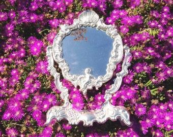 HOLLYWOOD REGENCY Mirror Gold Metal Frame Mirror