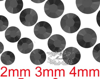 Large Lot -Metallic Black Metal Round Rhinestone Mix All X 3000 Pcs or 2mm 5000 3mm 5000 4mm 3000 5mm 1500 6mm 750 Bling Crystal (GM.RT)