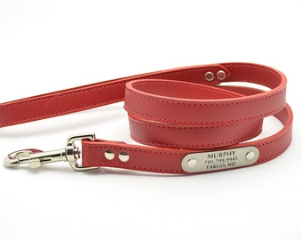 Leather Leash with Personalized NamePlate - 20 Colors
