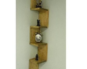 Wall mounted corner shelf Retro walnut stain
