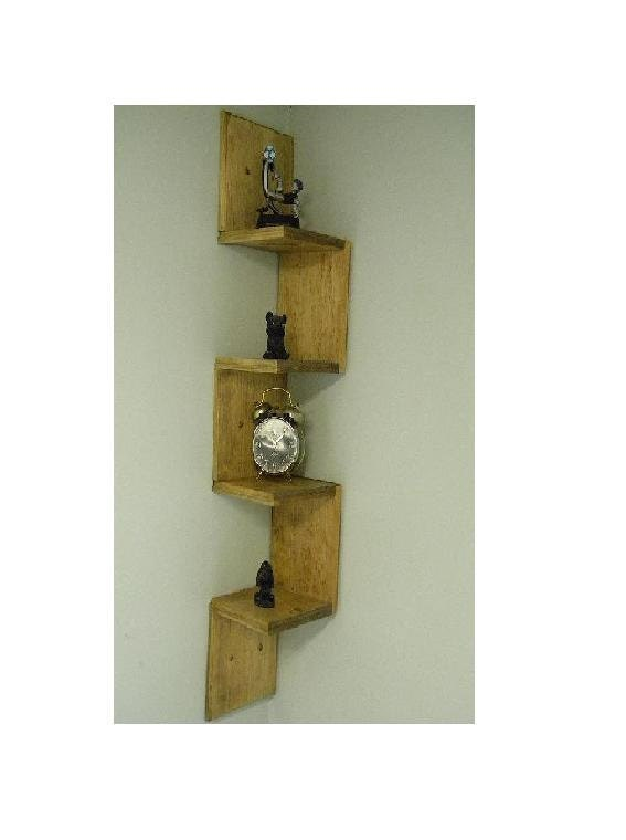 Wall mounted corner shelf retro walnut stain Corner wall mounted shelves