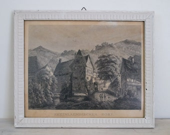 vintage framed print of a german village - rheinlaendisches dorf