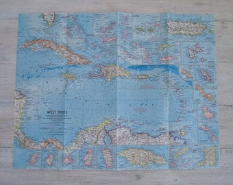 1962 west indies national geographic wall map