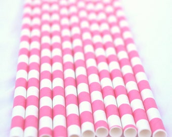 25 BrighT PiNK CiRCLe STRiPe Paper Straws 25ct- with Free Printable Flags