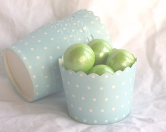 LiGHT Blue with White dot-Nut/Candy/Baking Cups--25ct--Parties--cupcakes-gumballs-snacks