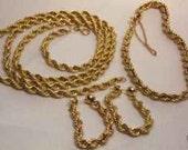 14K Gold  Wide Rope  Nechklace  Earrings  Bracelet  Set